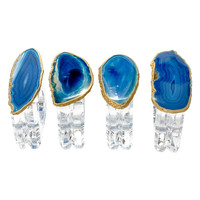 Mapleton Drive Napkin Rings with Agate (Set of 4) - Blue