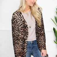 Lina Leopard Button-Up Cardigan