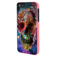 Floral Sugar Skull On Galaxy iPhone 5 Case Framed Pink