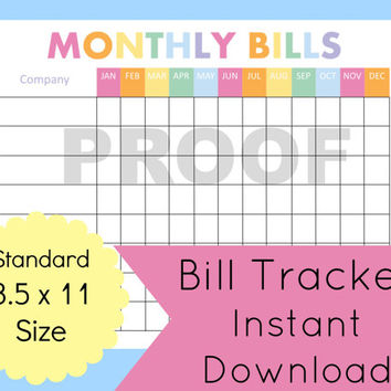 Monthly Bill Organizer Printable, Expense Tracker, Bill Planner, Bill Tracker, Expense Tracker, Financial Planner, Budget Printable,