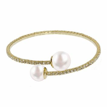 Women's Charm Bracelet Swarovski Element Pearl Single Line Stretch Bangle Crystal Jewelry for Woman Aluminum Plated