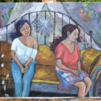 Surreal Fantasy Folk Art Painting of Two Girls Sitting on a Couch