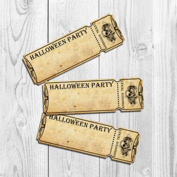 Halloween Party Tickets Invitation Printable Halloween Invitation 2 x 6 inch Adult Halloween Invitation Skull gothic vintage old paper DIY