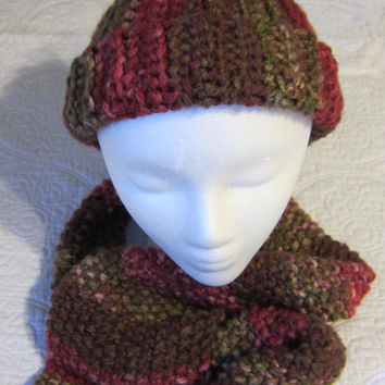 Knitted Scarf and Crochet Hat Set in Multi Color in Browns, Greens and Reds made with Thick Yarn Scarf has a Chain Fringe