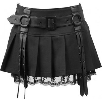 Pleated mini skirt belt and lace detail Punk Rave Q-220