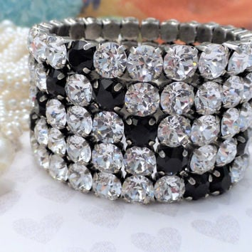 Beautiful Swarovski 8 MM Five Row Stretch Bracelet, DKS Original, Clear Crystal and Jet, Simply stunning, DKSJewelrydesigns