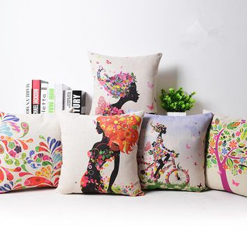 Cushion Covers Flower Tree Girl Bicycle Cotton Linen Bedroom Office 18x18 inche Euro Pillowcase Decorative Pillows