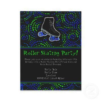 Black Personalized Roller Skating Party Invitation from Zazzle.com
