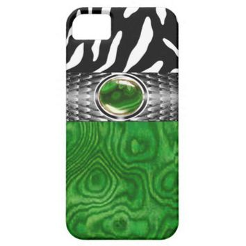 Zebra and Burl Wood with Jewel Accent (emerald) iPhone 5 Cases from Zazzle.com