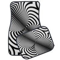 Black and White Abstract Design Car Floor Mat