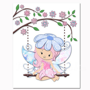 Fairy art for nursery baby girl room wall decor kids room colorful decoration toddler newborn artwork pink blue poster baby shower gift
