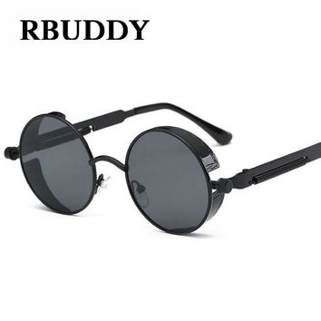 3286edc96d RBUDDY Gothic Steampunk sunglasses Men Round Circle Mirror Metal