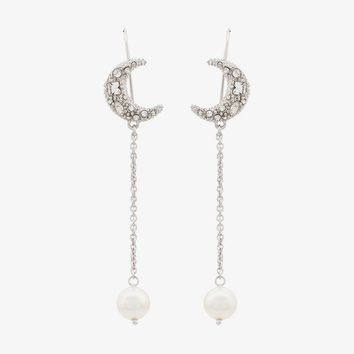 pearl and moon charm drop earrings