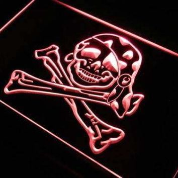 Skull Crossbones Pirate Girl LED Neon Light Sign