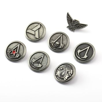 Game Jewelry Assassin Creed Brooch Black Flag Silver Pins Metal Conor Eagle Powers Trailer Abstergo Syndicate Men Friend Gift