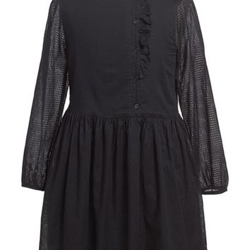 Girl's Burberry 'Alaya' Open Weave Cotton Dress,