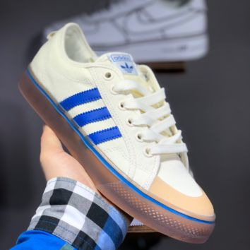 hcxx A1480 Adidas Nizza Blanc Bordeaux LO Campus canvas sneakers with half-cut rubber-covered toe  Beige Blue