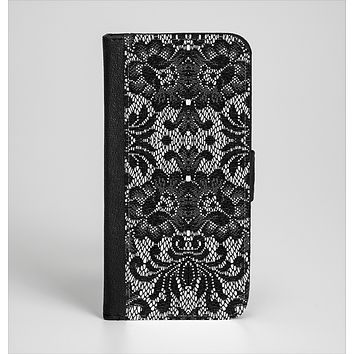 The Black and White Lace Pattern10867032_xl Ink-Fuzed Leather Folding Wallet Case for the iPhone 6/6s, 6/6s Plus, 5/5s and 5c