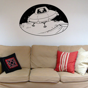 Alien in UFO Space Scene Decal Sticker Wall Vinyl Art Home Room Decor
