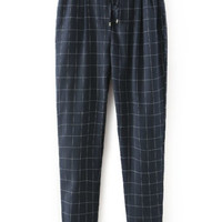 Navy Plaid Drawstring Waist Pants