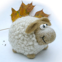 Needle Felted Toy - Little white Sheep. Felt Toys. Autumn colors.Rustic