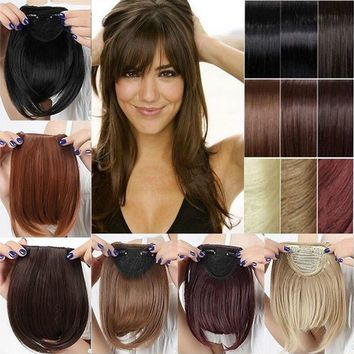 Women Synthetic Hair Fringe Bang Hairpiece Clip-In Front Hair Extension Straight