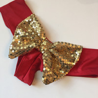 Red with Gold Sequin Bow Cheeky Bottoms – Fede Swimwear
