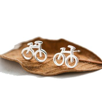 Silver Color Bike Bicycle Earrings For Women Fitness Sport Stud Earrings Cyclist Hobby Gift 2017 Summer Jewelry Mujer