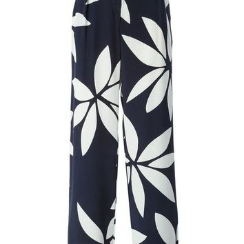 ICIKIN3 Issa front pleat flower print high waisted trousers