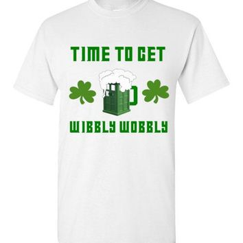 Time to Get Wibbly Wobbly Doctor Who St. Patrick's Day Beer T-Shirt