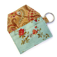 Mini key chain wallet/ simple ID Key chain / Business card holder/ keychain coin purse / Asian flowers blue and golden