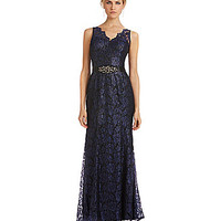 Adrianna Papell Metallic Lace Mermaid Gown - Blue/Purple