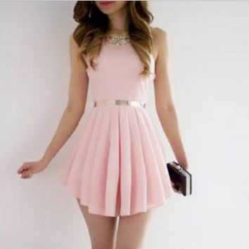 Pink skirt sleeveless dress