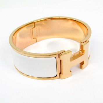 Hermes Clic Cloisonné/enamel,Metal Bangle Pink Gold,White Clic Clac PM BF324805