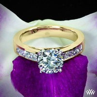 "18k Yellow Gold with Platinum Head ""Princess Channel-Set"" Diamond Engagement Ring"