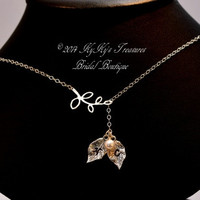 Bridal Necklace Sterling Silver Lariat, Personalized Bridal Necklace, Personalized Jewelry, Monogrammed Necklace