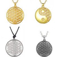 Dropshipping Supernatural Knot Male Flower of Life Necklace Men Pendant Egyptian Jewelry Tai Chi Mandala Women Collar