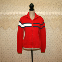 Vintage Tommy Hilfiger Zip Up Cardigan Sweater Womens Red White & Blue Heavy Cotton Sweater Small Medium Vintage Clothing Womens Clothing