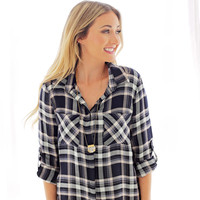 Heather Plaid Top in Navy