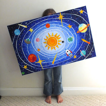 Childrens Wall Art, SOLAR SYSTEM No.5, 36x24 acrylic, space themed painting for kids rooms or nursery decor