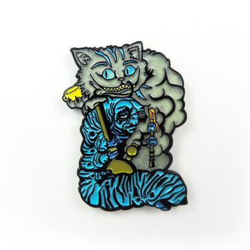 Absolem & Cheshire Cat Smoking Dabs Hat Pin