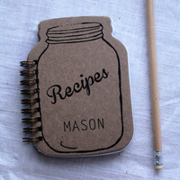 Mason Jar Shaped Recipe Book- with 20 lined recipe cards inside