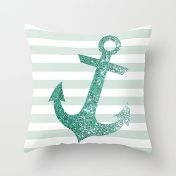 MINT GLITTER ANCHOR Throw Pillow by colorstudio