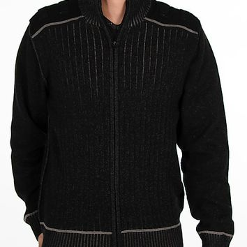 Buckle Black Sherpa Cardigan Sweater