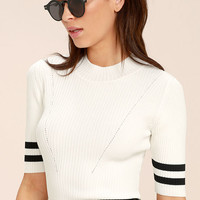 College Try Black and White Striped Top