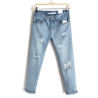 Summer Korean Casual Slim Plus Size Ripped Holes Jeans Skinny Pants [6332306372]