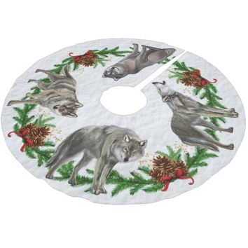 Christmas Wolf Pack Snow Brushed Polyester Tree Skirt