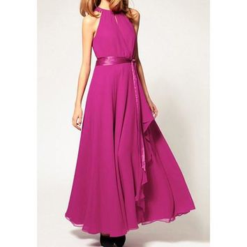 Rose Retro Sleeveless Chiffon Long Maxi Dresses