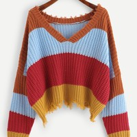 Shark bite Color Block Sweater