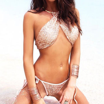 Sexy Sequin Strappy Backless Bikini Set Swimsuit Swimwear